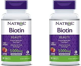 Natrol Biotin 5,000mcg Fast Dissolve, 90 Tablets (Pack of 2)