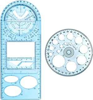 Newly Upgraded Multifunctional Geometric Ruler Geometric Drawing Template Measuring Tool Drawing Rulers Students for Schoo...