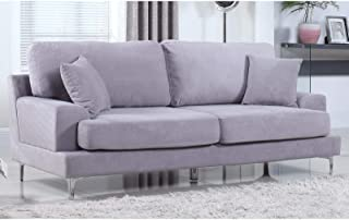 Madison Home Ultra Modern Plush Velvet Living Room Sofa Grey