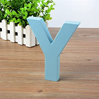 Wooden Hanging Wall Letters Y - Blue Decorative Wall Letter for Children's Nursery Baby's Room, Baby Name and Girls Bedroom Décor