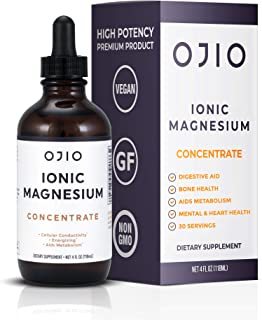 OJIO Ionic Magnesium Concentrate | Maximum Potency | Pharmaceutical Grade | Supports Healthy Chemical & Enzymes Reactions ...