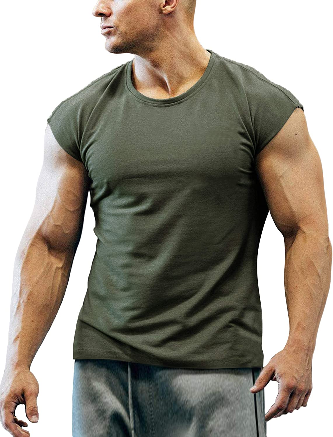 COOFANDY Men's Gym Workout T Shirt Short Sleeve Muscle Cut Bodybuilding Training Fitness Tee Tops