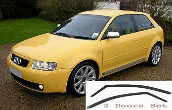 2x Deflectores de Aire Compatible con Audi A3 S3 1996 - 2003 MK1 3 Puertas Derivabrisas protección sol lluvia nieve viento Vidrio acrílico PMMA de primera calidad