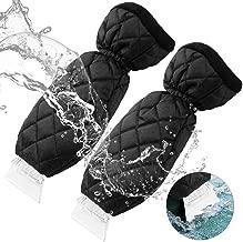 YIBEICO 2 Pack Ice Scraper, Elastic Wristband Windscreen Ice Scraper Mitts Waterproof Keep Hand Warm Car Windshield Snow Scrapers, Black