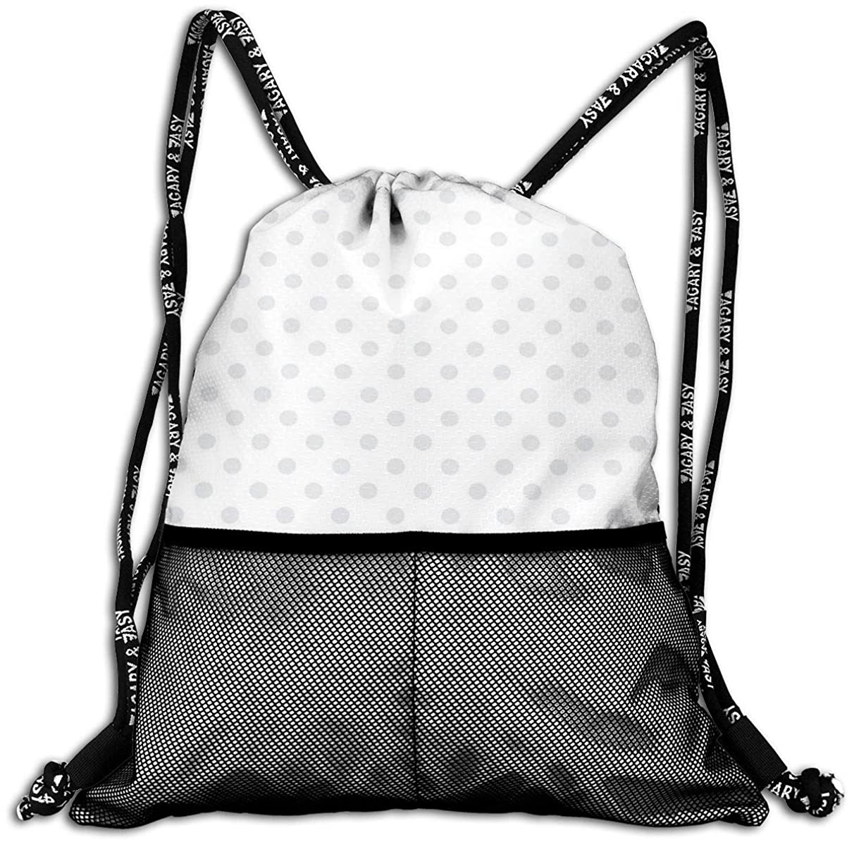 Drawstring Backpacks Bags,Small Polka Dots On White Backdrop Retro Style Spotted Traditional Pastel Pattern,5 Liter Capacity,Adjustable