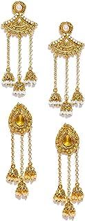 Zaveri Pearls Ethnic Jhumkis for Women (Golden) (ZPFK6396)