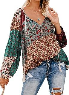 Women's Floral Print V Neck Long Sleeve Shirts Tops Casual Loose Boho Blouses