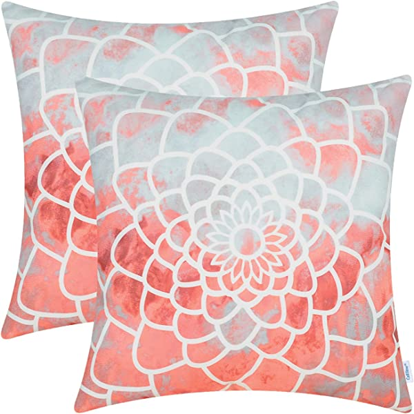 CaliTime Pack Of 2 Cozy Fleece Throw Pillow Cases Covers For Couch Bed Sofa Manual Hand Painted Print Colorful Dahlia Compass 18 X 18 Inches Coral Pink