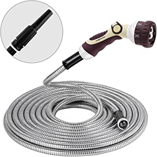 Winslow&Ross 70FT Metal Garden Hose Stainless Steel Water Hose with 6 Way Spray Nozzle and Solid Metal Fittings Durable and Easy to Store