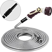 Winslow&Ross 50FT Stainless Steel Water Hose Metal Garden Hose with 6 Way Spray Nozzle and Solid Metal Fittings Durable- Ultra Flexible, Tangle Free