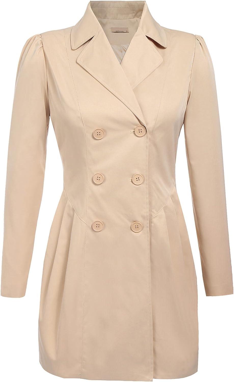 EASTHER Women's Wool Jacket Double Breasted Overcoat Long Sleeve Peacoat Jacket