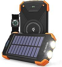 Solar Power Bank, Qi Portable Charger 10,000mAh External Battery Pack Type C Input Port Dual Flashlight, Compass, Solar Pa...