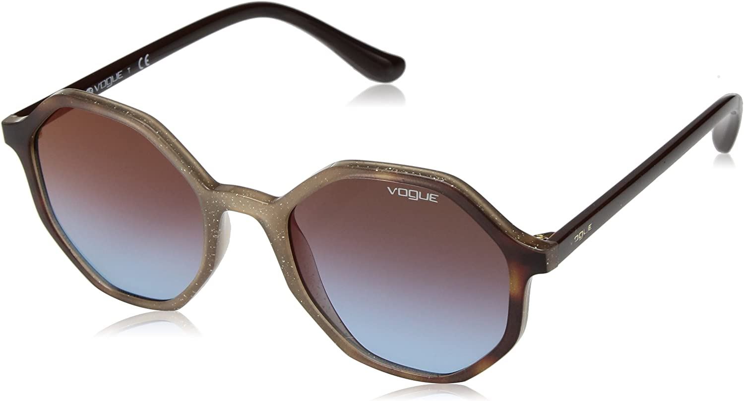 VOGUE Women's 0vo5222s NonPolarized Iridium Round Sunglasses OPAL BEIGE GLITTER 52 mm
