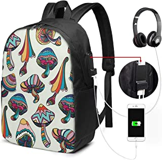 Mochila con Interfaz USB Unisex Backpack with USB Charging Port Colorful Mushrooms Classic Fashion General Business Bookbag