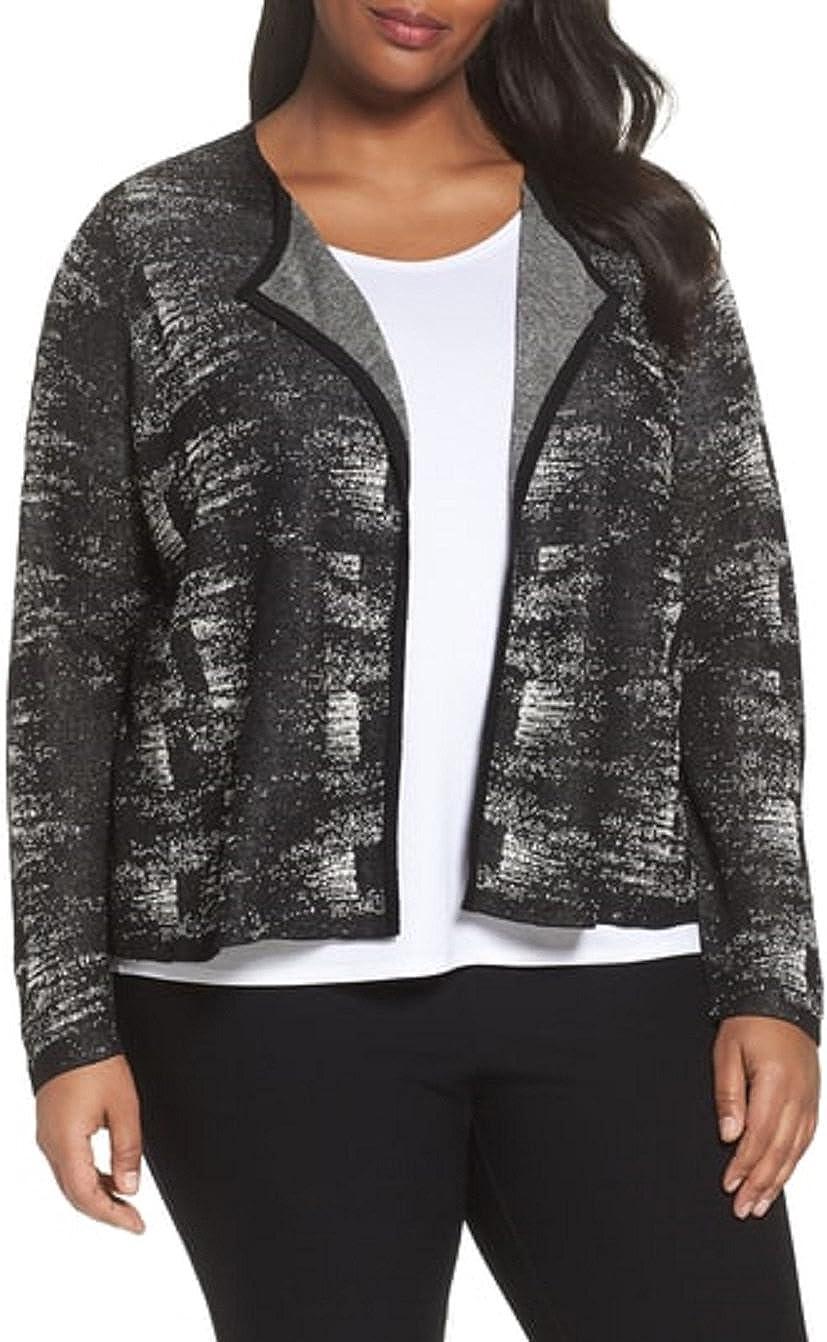 Eileen Fisher Plus Black/Bone Fine Organic Linen Crepe Knit Round Neck Cardigan Size 2X MSRP $298