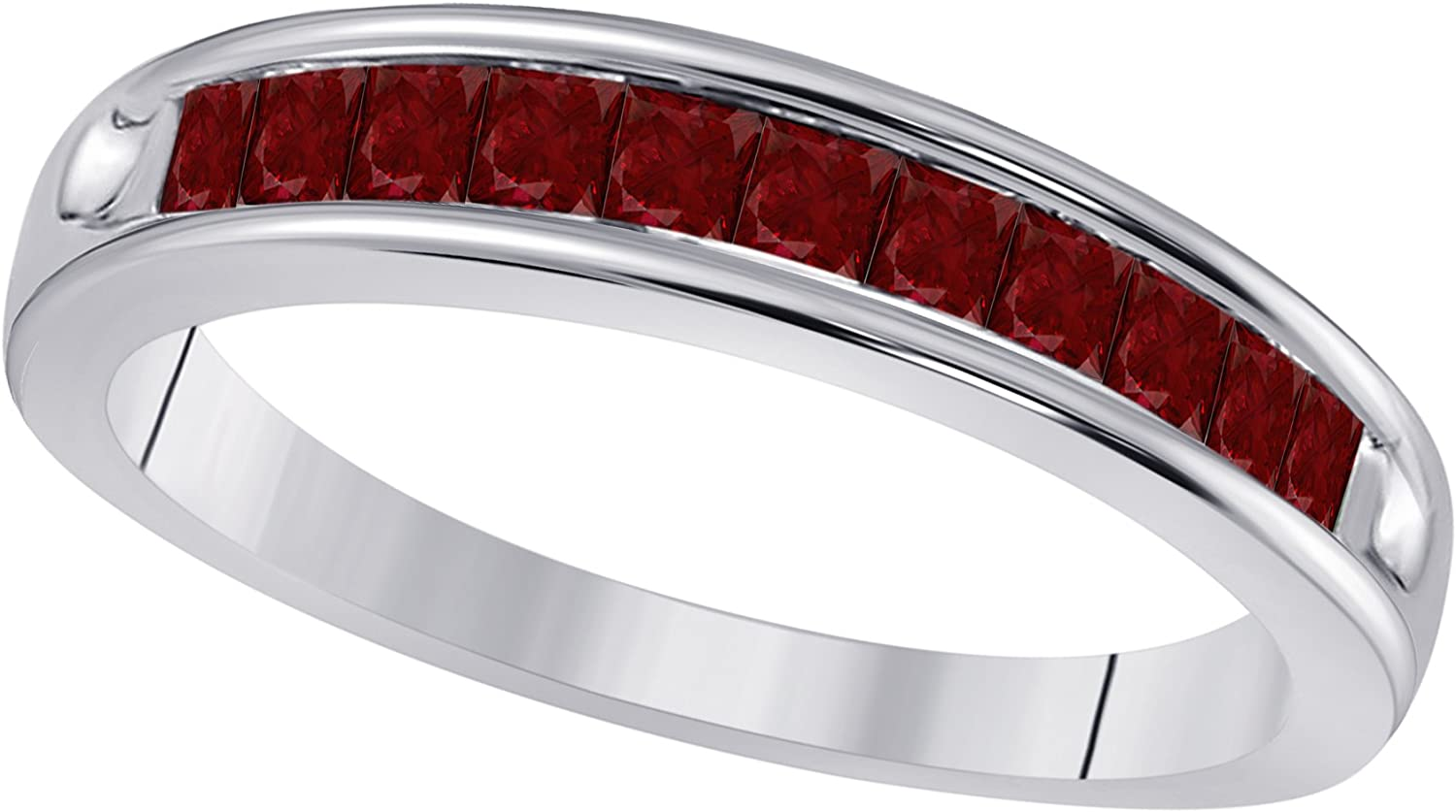 Sterling Silver Plated 1 2 Ct Created specialty shop Chan Red Cut Princess Ruby Limited Special Price
