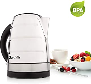 Odette Premium Stainless Steel 7-Cup (1.7 Liter) Fast Boil Cordless BPA-Free Electric Kettle with Auto Shut Off and Boil Dry Protection