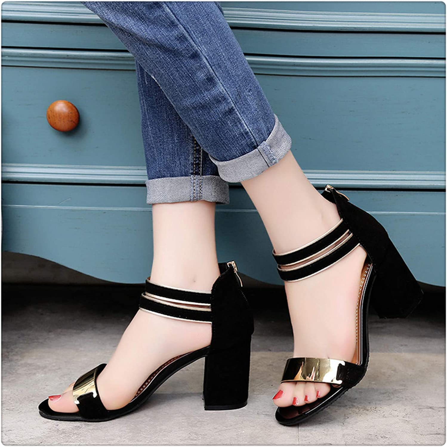 QUGKOP& Women Sandals Fashion Summer Women shoes Ladies Casual shoes Elegant Slip-on High-Heeled Sandals Woman Footwear Black 37