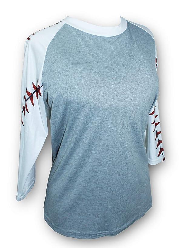 KnitPopShop Baseball 3/4 Length Long Sleeved T Shirt for Mom Fans Apparel Sleeves Gifts Team