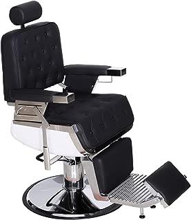 BarberPub Barber Chair Heavy Duty Reclining Hydraulic Hair Styling Chair for Barber Shop, Hair Salon, Salon Furniture Shampoo Equipment 3833 (Black)