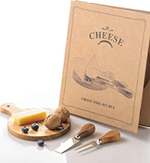 Mini Small Cheese Board and Knife Set, Charcuterie Platter & Serving Tray for Wine, Crackers, Brie and Meat For Home,Picnic,Restaurant, Cafe Use (Round Board)