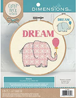 Dimensions Counted Cross Stitch Kit, Dream Elephant Baby Nursery Decoration, 14 Count Ivory Aida, 6''