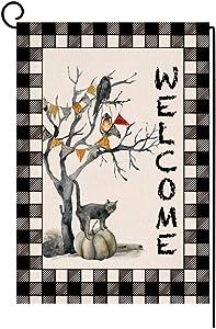 Welcome Halloween Pumpkin Cat Garden Flag Vertical Double Sided Crow Buffalo Check Burlap Yard Outdoor Decor 12.5 x 18 Inches (146593)