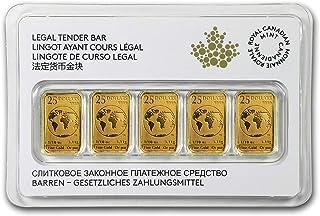 2016 CA Canada 1/10 oz Gold $25 5-Bar Set (In Assay) 1/2 OZ Brilliant Uncirculated
