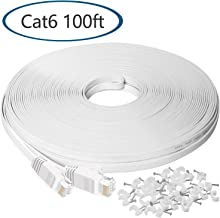 Ethernet Cable 100 ft, Cat6 Flat Internet Cable,Extra Long LAN Network Cable Patch Cord with Clips with Snagless Rj45 Connectors, Silm High Speed Computer Wire, Faster Than Cat5 5e Cables,White