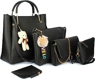 Mammon women's Handbag combo Black (set of 5)