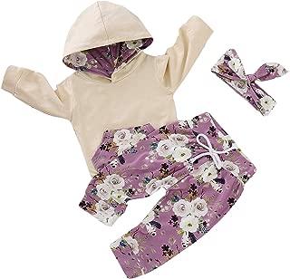 HappyMA 2PCs Infant Toddler Baby Girl Sweatshirt Kangaroo Pocket Floral Hoodie Tops +Pants Clothes Set