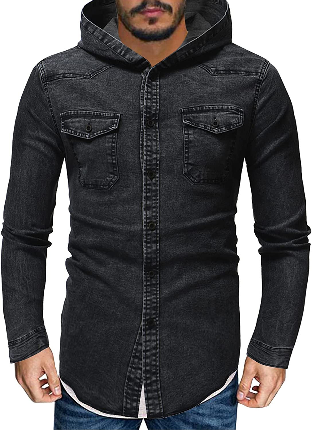Hugogo Mens Denim New mail order Jackets Hoodies Button Brand Cheap Sale Venue Pocket with Long Sleeve