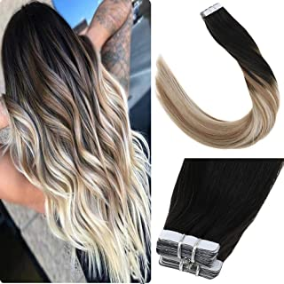 LaaVoo 20inch Invisible Hair Extensions Double Sided Tape in Hair Human Hair Extensions Balayage Off Black to Golden Brown and Platinum Blonde Tape in Hair 20pcs 50g