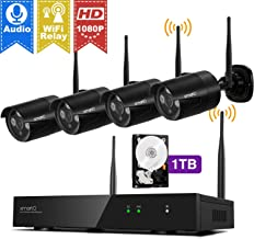 Wireless Security Camera Systems 1080p with Audio Ports, xmartO H.265+ 8CH Expandable NVR and 4X 2MP Full HD WiFi Security IP Cameras, Plug N Play, Long Range WiFi in, IP66 & Night Vision, 1TB HDD