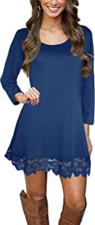 Afibi Women's Long Sleeve A-Line Lace Stitching Trim Dress