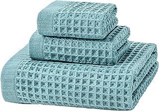 Spa Bath Towel Set 3pcs Set 100% Cotton Highly Absorbent Machine Washable 1 Bath Towel 1 Hand Towel 1 Face Towel (58x120c...