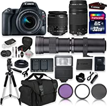 Canon EOS Rebel SL2 DSLR Camera with 18-55mm EF-S F/4-5.6 is STM Lens & EF 75-300mm f/4-5.6 III Lens + 420-800mm Zoom Lens + 32GB Memory + Camera Case + Tripod + Full Accessory Bundle