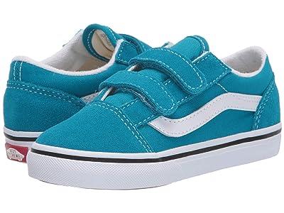 Vans Kids Old Skool V (Infant/Toddler) (Caribbean Sea/True White) Kids Shoes