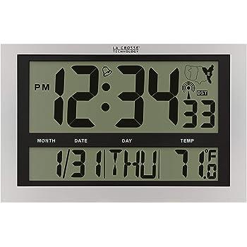 Amazon Com La Crosse Technology Bbb87276 15 Textured Atomic Digital Wall Clock Black Home Kitchen