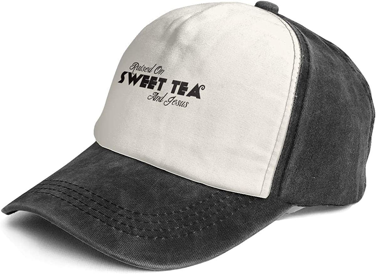 Raised On Sweet Tea and Jesus Vintage Washed Distressed Dad Hats Funny Gift Black/White