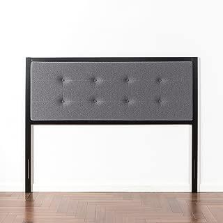 Zinus Barbara Button Tufted Grey Upholstered Metal Headboard, Twin