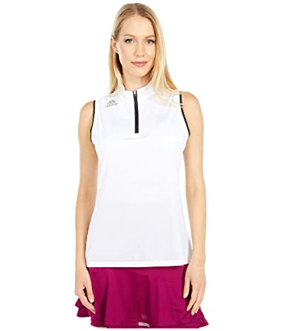 adidas Golf Gradient Zip Sleeveless Polo Shirt (White) Women