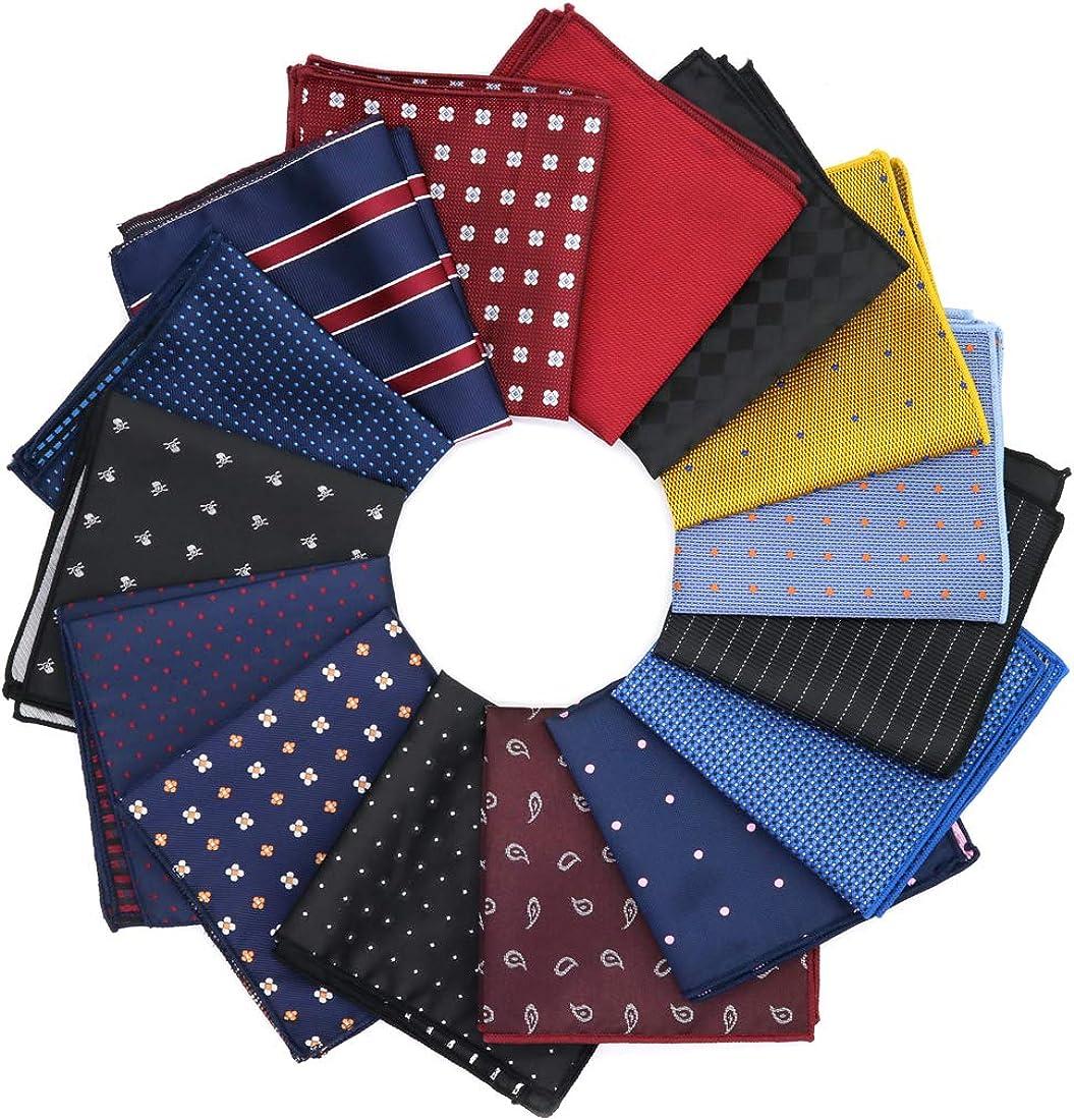 GOADAFOO 15 Pack Pocket Squares For Men 22CM Blue Burgundy Black Handkerchiefs Dots Kerchief Suit Accessories