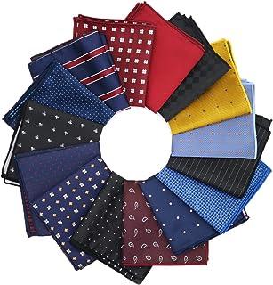 GOADAFOO 15 حزمة مربعات جيب للرجال 22 سم أزرق عنابي أسود منديل منديل منديل اكسسوارات بدلة منديل