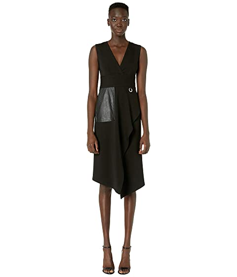 YIGAL AZROUËL Mechanical Stretch V-Neck Dress with Pocket