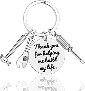 LanMa Dad Keychain Father's Day Gifts - Thank You for Helping Me Build My Life Keychain for Christmas Birthday Family Gift