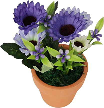 Indus Artificial Baby Pink Flower Plant with Pot for Home and Office Decor (Blue)