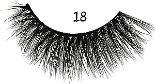 MIZ LASH 3D Mink Eyelashes 100% Real Fur Cruelty Free Strips False Lashes for Women Reusable Soft Thick Curl Dramatic Fluffy Natural Look Handmade Lash #18 Fashion Fake Eyelash Extensions 1 Pair Pack