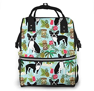 Boston Terrier, Palm Trees Summer Holiday Diaper Bag Baby Backpack Mummy Bag, Wiscky Nappy Changing Travel Tote Bags for Mom Daddy, Multi-Functional, Waterproof, Large Capacity