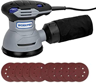 WORKPRO 5-inch Random Orbit Sander - 6 Variable Speed 12000 RPM Electric Sander Machine, 10Pcs Sandpapers with High-Performance Dust Collector System - Perfect for Sanding and DIY